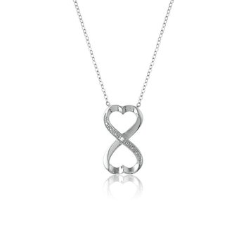 - Sterling Silver Set with CZ Stones Infinity Heart Pendant