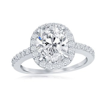 - Sterling Silver Oval and Round CZ Halo Accented Engagement Ring