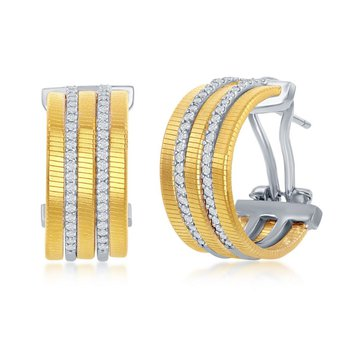 - Italian Collection CZ Stones 14k Yellow Gold Plated Sterling Silver Huggie Earring Pair