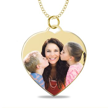 - Medium Heart Laser Enameled 25x27mm Customized Engravable Photo Picture Pendant