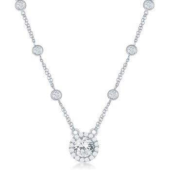 Sterling Silver Round CZ Station Halo Chain Necklace