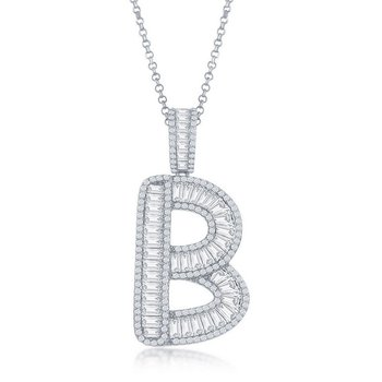 """- Sterling Silver Baguette CZ Stones Extra Large Letter Initial Pendant with 16"""" Chain"""
