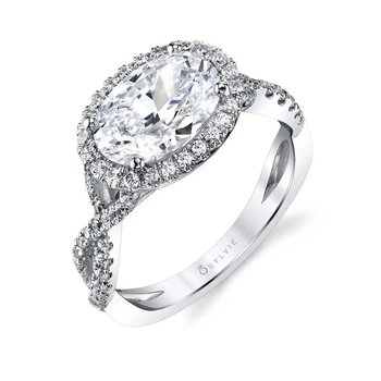 - Halo Oval-Shaped Diamond Accented Spiral Semi-Mount Engagement Ring