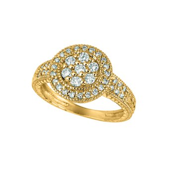 14K Gold 0.58ctw. Diamond Halo Cluster Round Accented Cocktail Anniversary Ring