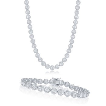 Sterling Silver Round Halo CZ Tennis Necklace and Link Tennis Bracelet Set
