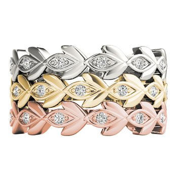 1/10ctw. Diamond Anniversary Wedding Floral Stackable Ring Band