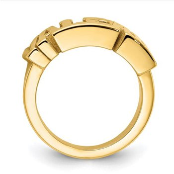 14k Gold Polished Personalized 6.5mm Name Band Ring for Men