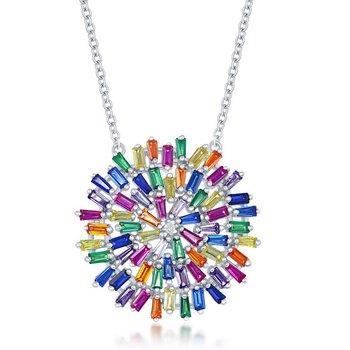 """- Sterling Silver Multi-Color Rainbow Baguette CZ Round Pendant Necklace - 16"""""""