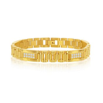 """- Stainless Steel Yellow Gold Plated with CZ Stones Link Bracelet for Men - 8.50"""""""