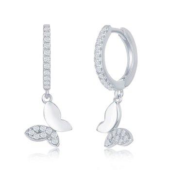 Sterling Silver Huggie Hoop CZ Butterfly Hinged Dangle/Drop  Earrings