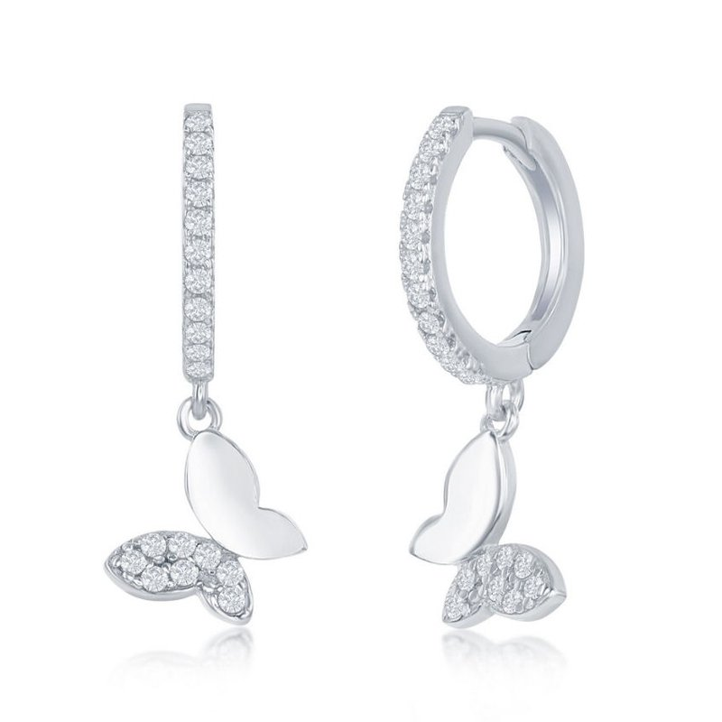 Fashion Jewelry Collection Sterling Silver Huggie Hoop CZ Butterfly Hinged Dangle/Drop  Earrings