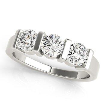 - 1.50ctw. Round 3-Stone Diamond Anniversary Engagement Band Ring