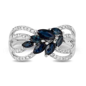 - 14k White Gold Diamond and Sapphire Gemstone Leaf Nature Inspired Design Ring