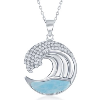 - Caribbean Treasures CZ Stones Sterling Silver Larimar Gemstone Ocean Wave Pendant