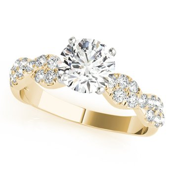- Round Accented Diamond Engagement Ring