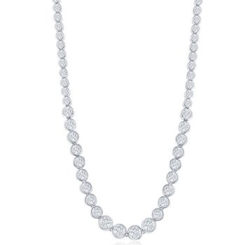 Sterling Silver Graduated 3-5mm Round CZ Tennis Necklace and Tennis Bracelet Set