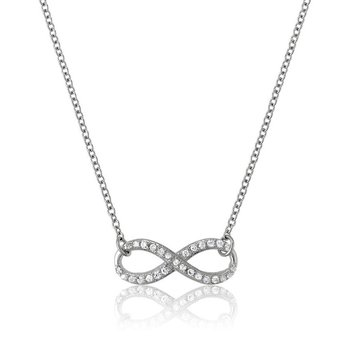 """- Sterling Silver Infinity Set with CZ Stones Chain Necklace - 16"""""""