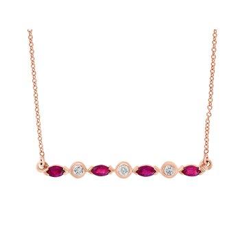 - 14k Rose Gold Diamond and Ruby Gemstone Necklace