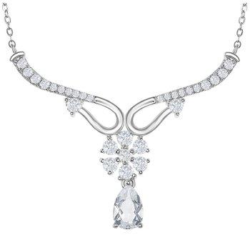 """- Bellissima Sterling Silver 3.15ctw. White Topaz Gemstones Floral Flower Y-Design Bridal Necklace - 17"""""""