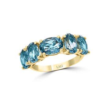 - 14k Yellow Gold 4.82Ctw. Oval London Blue Topaz Gemstone Band Ring