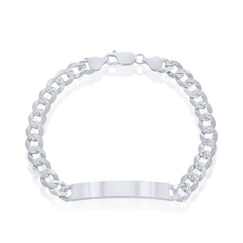 """- Sterling Silver 7mm Pave Curb Chain ID Bar Identification Link Chain Bracelet for Men - 8.50"""""""