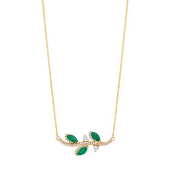 - 14k Yellow Gold Diamond and Emerald Gemstone Leaf Inspired Design Chain Necklace