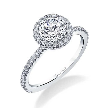 - Halo Diamond Accented Semi-Mount Engagement Ring
