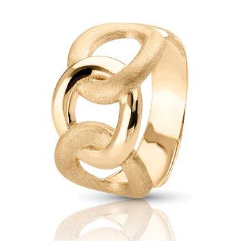 14k Yellow Gold Matt & Polish-Finish Italian-Inspired Right Hand Link Ring
