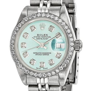 : Pre-Owned Independently Certified Rolex Ladies Datejust Two-Tone Steel/18k with Ice Blue Diamond Dial, Diamond Bezel, and Jubilee Band