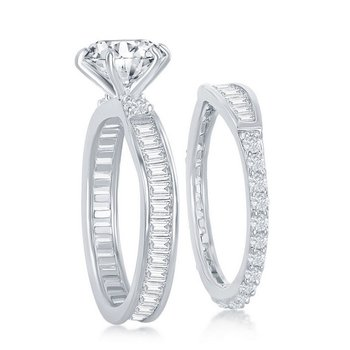 - Sterling Silver Set with 6-Prong Round and Baguette CZ Stones Wedding and Engagment Ring Set
