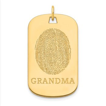 14k Gold Personalized 32x19mm Fingerprint Tag Charm Pendant