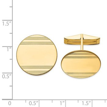 14k Yellow Solid Gold 20mm Round Grooved Design Engravable Personalized Men's Cuff Links