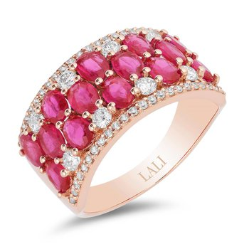 - 14k Rose Gold Diamond and Ruby Gemstone Anniversary Wide Band Ring