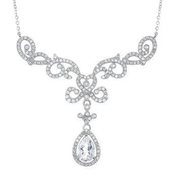 "- Bellissima Sterling Silver 2.9ctw. White Topaz Gemstones Teardrop Bridal Necklace - 16"""