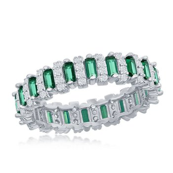 Sterling Silver White CZ Round and Green CZ Emerald-Cut Eternity Band Ring