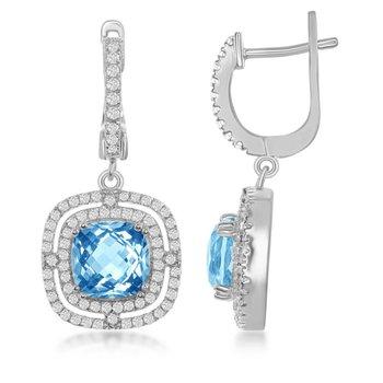 - Bellissima Sterling Silver Square Swiss BlueTopaz with White Topaz Gemstones Dangle Drop Latchback Earring Pair