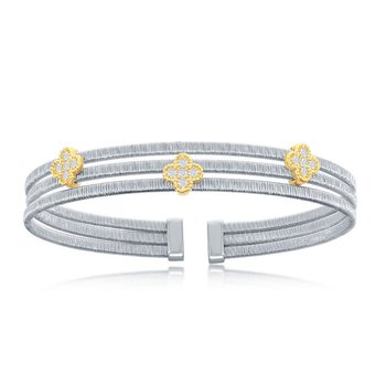 - Italian Collection CZ Stones Sterling Silver w/14k Gold Plated Clovers Triple Wire Bangle Cuff Bracelet