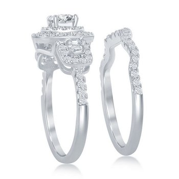 Sterling Silver CZ Wedding Band and Halo Accented Engagement Ring Set