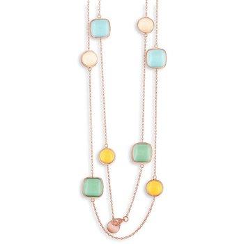"- Simona Sterling Silver 14k Rose Gold Plated Multi-Color Gemstone Neckalce - 32"""