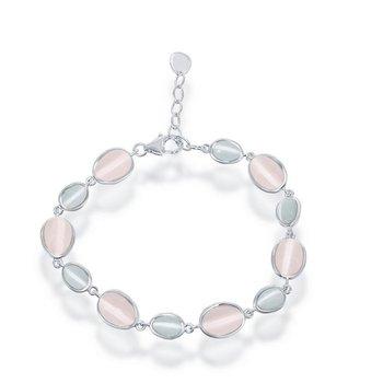 "- Simona Sterling Silver Blue and Dark Pink Oval Cat's Eye Bracelet - 8"""