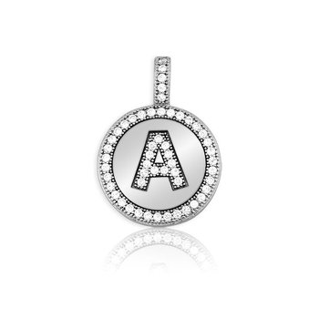 """- Sterling Silver Micro Pave Set Round CZ Stones Letter Initial Circle Pendant with 16"""" Chain"""