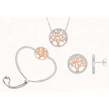 Sterling Silver Round CZ Tree Chain Necklace and Adjustable Bolo Bracelet and Earrings Set
