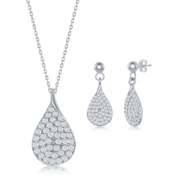 Sterling Silver Micro Pave CZ Pear-Shaped Pendant Chain Necklace & Earrings Set