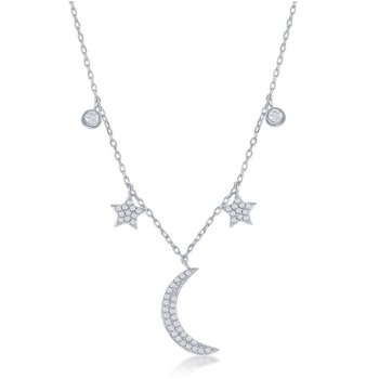 Sterling Silver Moon and Stars CZ Station Necklace