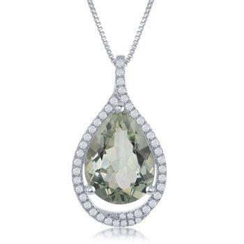 "- Bellissima Sterling Silver 7.00ctw Green Amethyst Gemstone and 0.45ctw. White Topaz Gemstones Teardrop Pendant Necklace - 17"""