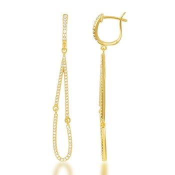 - Bellissima Sterling Silver 14k Yellow Gold Plated 1.24ctw. White Topaz Gemstones Teardrop Dangle Drop Earring Pair