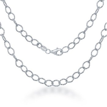 Sterling Silver Diamond-Cut Rolo Link Chain Necklace