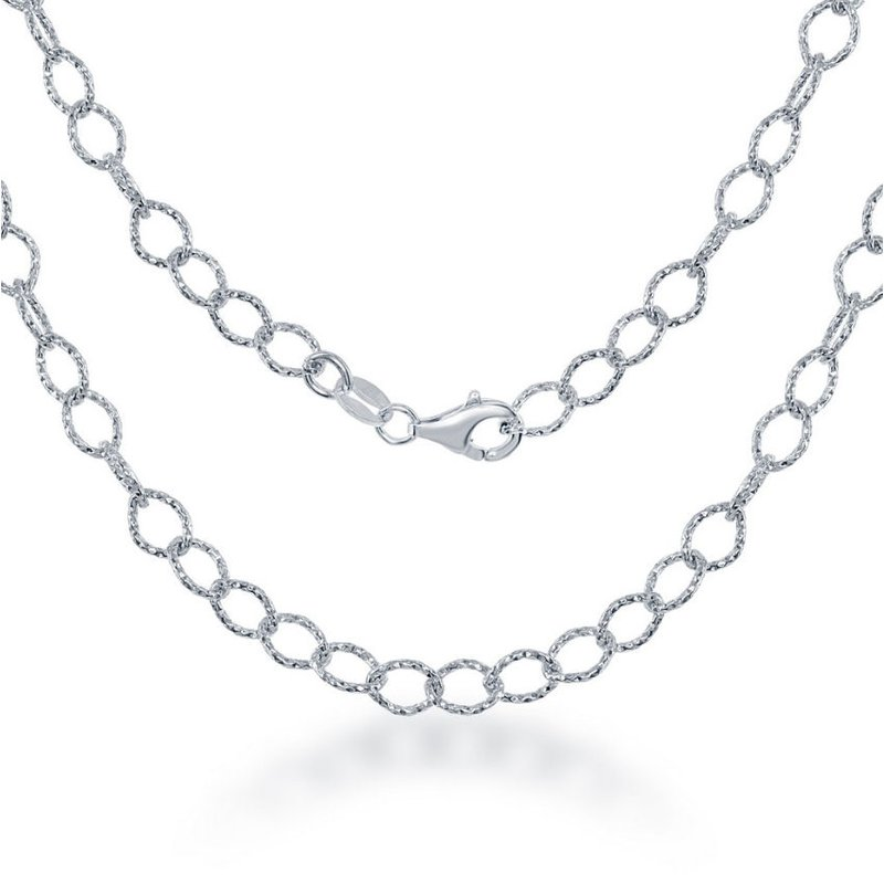 Fashion Jewelry Collection Sterling Silver Diamond-Cut Rolo Link Chain Necklace