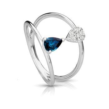 1/8ct. Diamond & 1/2ct. Blue Sapphire Gemstone 14k White Gold Right Hand Ring