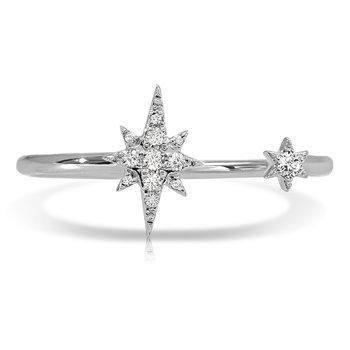 1/15ct. Diamond 14k White Gold Open End Starburst Right Hand Ring Band